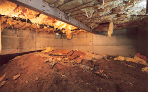Crawl Space Moisture Barrier before in Tucson