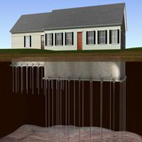 diagram of foundation push piers and helical piers stabilizing a ranch house foundation.